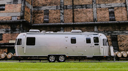 Exterior view of a silver 2020 Airstream Classic