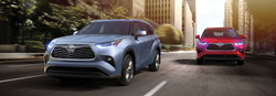 2020 Toyota Highlander models in gray and red