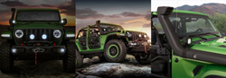 Green 2020 Jeep Wrangler Unlimited Front End LED Headlights, Side Exterior with Mopar® Accessories and a Mopar® Snorkel