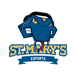 Rattler Man wears a headset for gaming in this St. Mary's eSports logo.