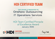 Onshore Outsourcing receives HDI Team Certified Pinnacle of Excellence Award for 2020