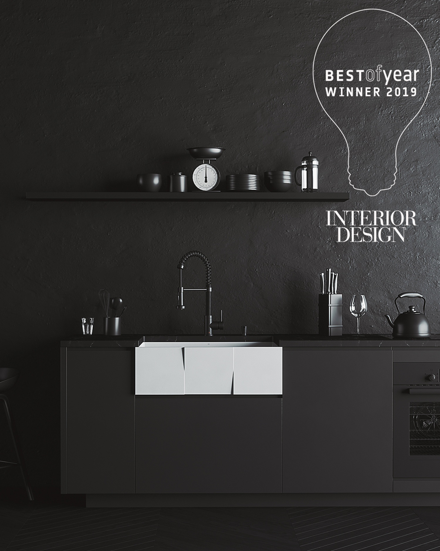 Vigo Matte Stone Farmhouse Kitchen Sink Collection Wins Interior Design Award