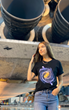 "This Svaha black, short-sleeve unisex adult t-shirt features a witty astronomy-inspired design called ""We will be there"" showing that in a few billions years, we might be on a new Earth-like planet."