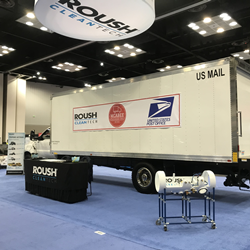 The Ford F-750 delivery trucks fueled by propane autogas are used for contracted parcel delivery routes between USPS locations in North and South Carolina.
