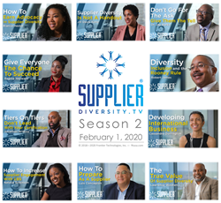 "This image is a promotional flyer for Supplier Diversity TV Season 2. In the center lies the Supplier Diversity TV Logo, with the text: ""Season 2, February 1, 2020"". Images of all of the interviewees from Season 2 along with the titles of their episodes surround this."