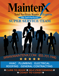 "MaintenX logo against an orange background with ""super service team"" members below."