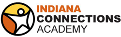 Star person with orange and yellow background and Indiana Connections Academy to the right.