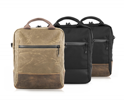 Hitch Crossbody Brief - Two sizes and four color combinations — waxed canvas with chocolate leather or grizzly leather (not shown), or black ballistic nylon with black leather or chocolate leather.