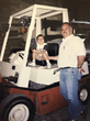 Danny (left) spending his summers as a young boy at B&B Door Company with his father Celso (right).