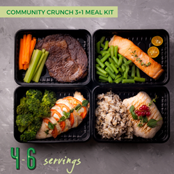 Fresh Crunch | Community Crunch 3+1 Meal Kit - Image of four family style single serve meals