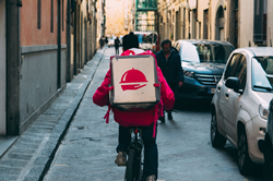 Food delivery bike courier