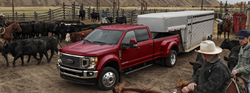 Red Ford F-Series truck with a livestock trailer