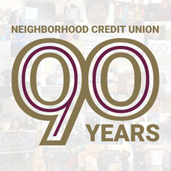 Image of the Neighborhood Credit Union 90th Birthday Logo