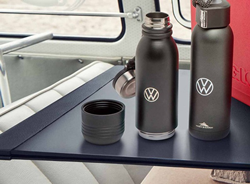 Image of two VW DriverGear reusable bottles on a table