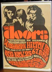 Original Psychedelic 1967 Jim Morrison and The Doors Washington Hilton Hotel Concert Poster