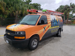 MaintenX vans are hard to miss! Their bright colors and the outline of service team heroes makes them easy to spot as they arrive to help customers.