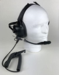 Dual Muff Two-Way Radio Headset on a Mannequin Head