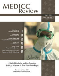 Cover of April 2020 MEDICC Review Journal with image of health worker in full protective gear. Predominate color is brown
