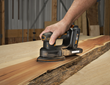 WORX 20V Power Share Detail Sander's triangular base is designed for  flush surface sanding, as well as spot sanding at its tip.