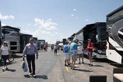 RVs of various types and price ranges are available for inspection during an FMCA International Convention and RV Expo.