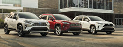 three Toyota RAV4 Hybrid vehicles