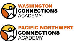 Star person in a circle with orange and yellow background. To the right it says Washington Connections Academy. Beneath is a star person in a circle with orange and yellow background. To the right it says Pacific Northwest Connections Academy