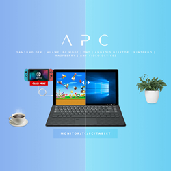 The 1st tablet can be touchscreen monitor and standalone PC!  APC supports any Type-C or HDMI devices. Turn smartphone into real tablet/laptop. Full desktop experience.  Full compatible Samsung DeX, Huawei, OnePlus, TNT, iPhone, LG, Asus, Windows/Linux.