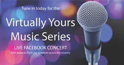Virtually Yours Music Series with image of a microphone