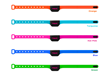 Petpuls's detachable and interchangeable collar straps come in orange, turquoise, hot pink, blue and green.