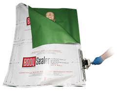 Hermetically sealed body bag from BodySealer, eliminates the need for refrigerating remains.