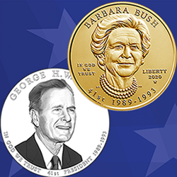 Bush Presidential $1 Coin and First Spouse Gold Coin