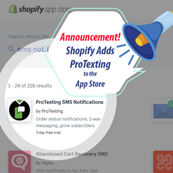 ProTexting now available in the Shopify App Store
