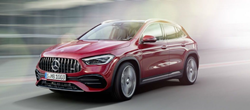 2021 MB AMG GLA exterior front fascia driver side on blurred background