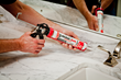 Red Devil's Kitchen & Bath Stain Block™ Sealant resists mold, mildew and tough stains such as red wine.