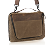 Tech Folio 16-inch with optional strap — brown waxed canvas with full-grain leather details