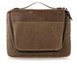 Tech Folio 16-inch in waxed canvas and chocolate leather