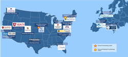 Map of FSHD Clinical Trial Research Network sites