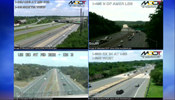 Four traffic camera images arranged in a grid formation.