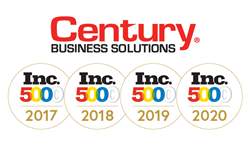 Over the last three years, Century Business Solutions achieved a 77.15% increase in sales. This is the company's fourth year ranking on the prestigious Inc. 5000 list.