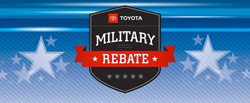 Military rebate banner belonging to Toyota