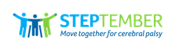 """Three figures with their arms around each other. A light blue one stands on the left, a dark blue one sits in a wheelchair in the middle, and a light green one stands on the right. To the right of the figures is the word STEPtember, with STEP in blue and the remainder in green. The tagline below reads """"move together for cerebral palsy"""" in dark blue."""