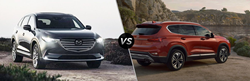 2020 Mazda CX-9 next to a 2020 Hyundai Santa Fe
