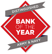 "Armed Forces Bank (AFB) has been named ""Distinguished Bank of the Year"" by the Army and Navy."