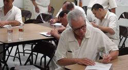 An inmate participates in the Peace Education Program, which a new study found to have many benefits.