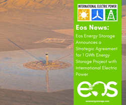 A green banner with the Eos logo and the IEP logo and title of the press release, with an aerial photo of energy farm.