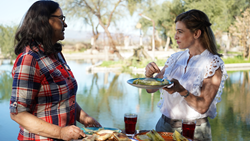 Pati Jinich with Mayte Lopez at Hacienda Del Labrador outside of Hermosillo, Sonora, Mexico