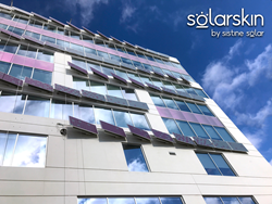 BIPV solar on the MoZaic East facade in Minneapolis using SolarSkin by Sistine Solar