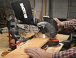 WORX 20V Power Share 7 ¼ in. Sliding Compound Miter Saw can crosscut boards up to 8 ¼ in. wide at 90º degrees and 5 ¾ in. at 45º.