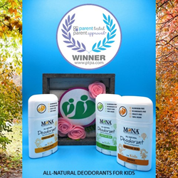 MONA All-Natural Deodorant for Kids Awarded 2020 Parent Tested Parent Approved Product Seal of Approval