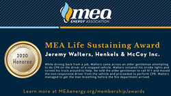 Jeremy Walters of Henkels & McCoy Receives MEA Life Sustaining Award